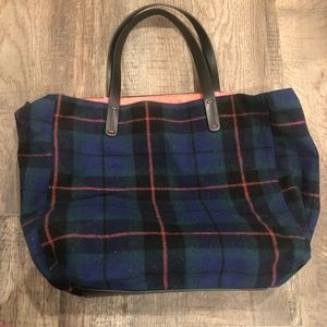 Gap large wool plaid tote New wout tag